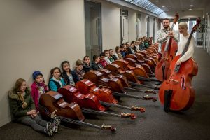 2016 Double Bass Workshop Participants with faculty members Etienne Lafrance and Alana Dawes